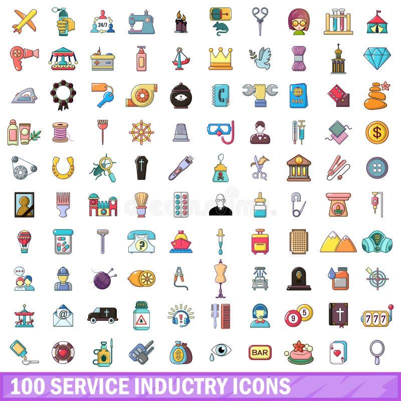 100 icônes d'entreprise du secteur tertiaire réglées, style de bande dessinée illustration de vecteur