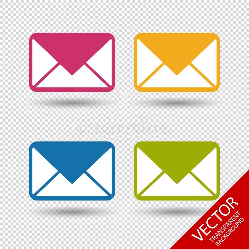 Icônes d'enveloppe de message pour Apps et sites Web - illustration colorée de vecteur illustration de vecteur