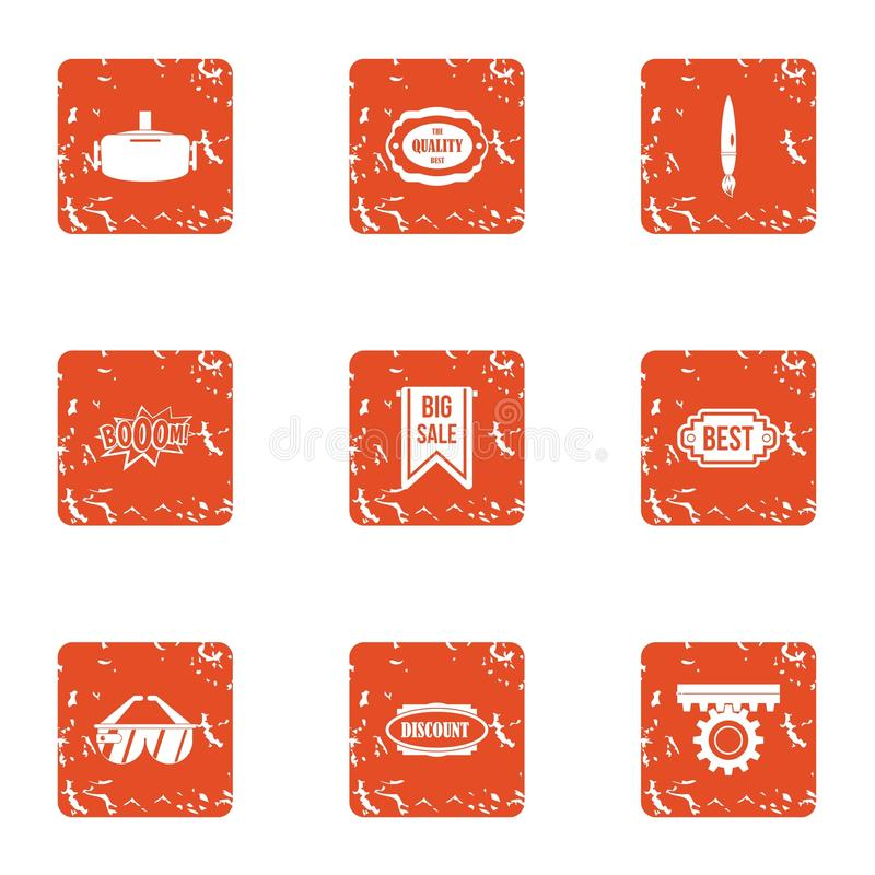 Icônes d'exemption réglées, style grunge illustration libre de droits