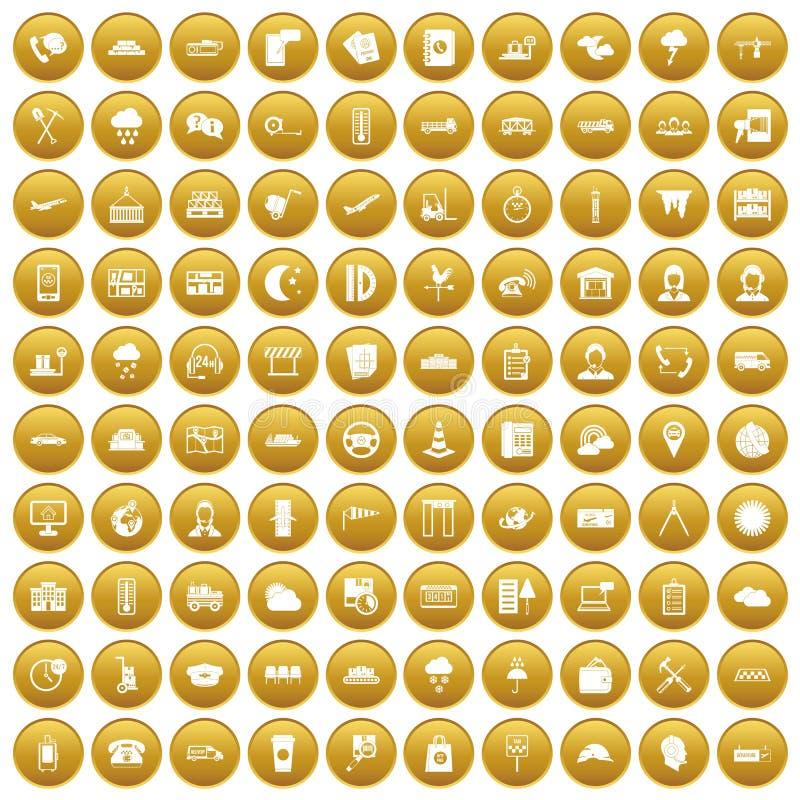 100 icônes d'expéditeur ont placé l'or illustration de vecteur
