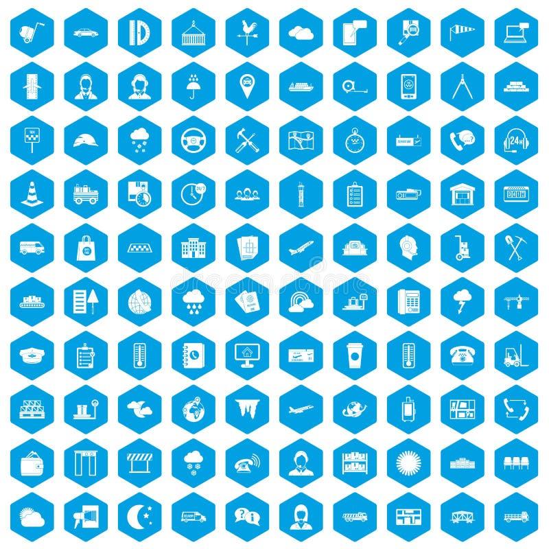 100 icônes d'expéditeur réglées bleues illustration libre de droits