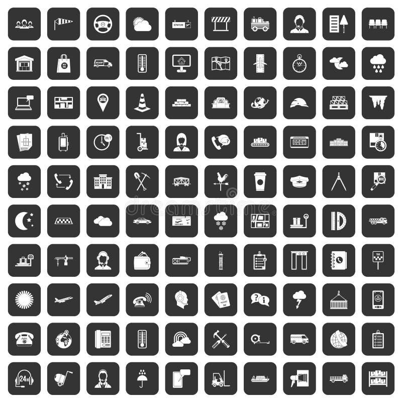 100 icônes d'expéditeur réglées noires illustration stock