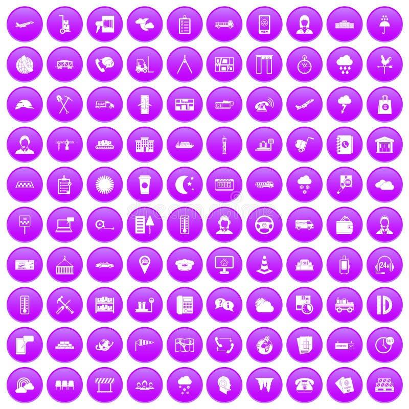 100 icônes d'expéditeur réglées pourpres illustration de vecteur