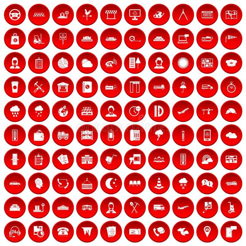 100 icônes d'expéditeur réglées rouges illustration de vecteur