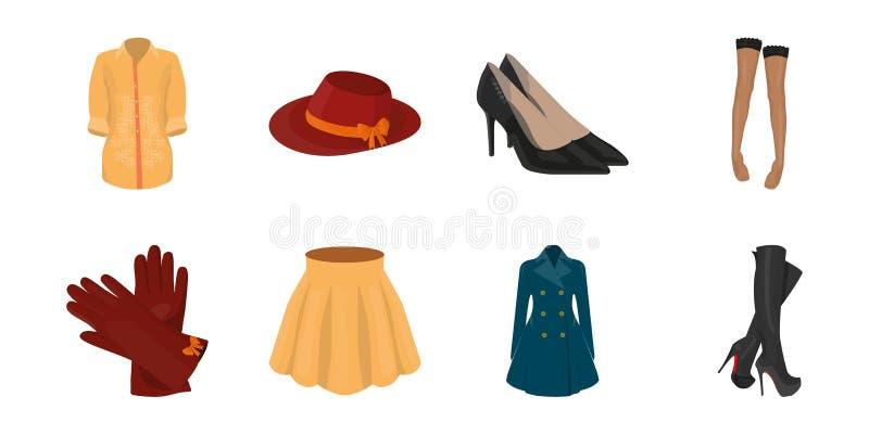 Icônes d'habillement du ` s de femmes dans la collection d'ensemble pour la conception Les variétés et les accessoires d'habillem illustration de vecteur