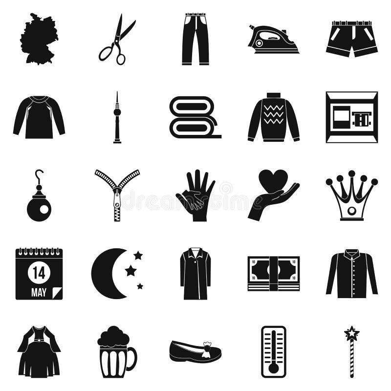 Icônes d'habillement réglées, style simple illustration de vecteur