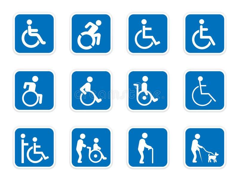 Icônes d'handicap, handicapés illustration libre de droits
