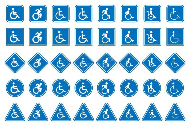 Icônes d'handicap, signe de handicapés illustration de vecteur