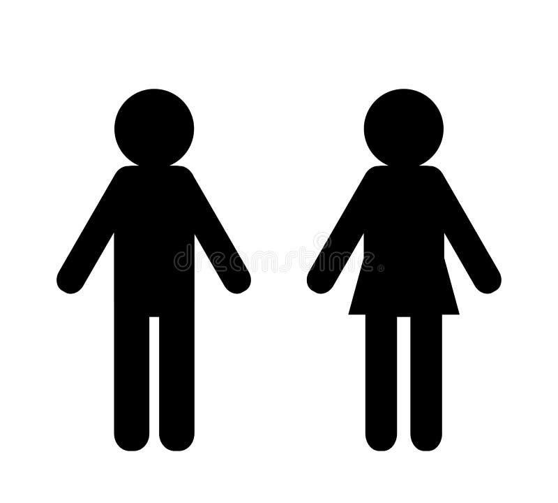 Icônes d'homme et de femme d'isolement sur le vecteur blanc de bckground illustration stock