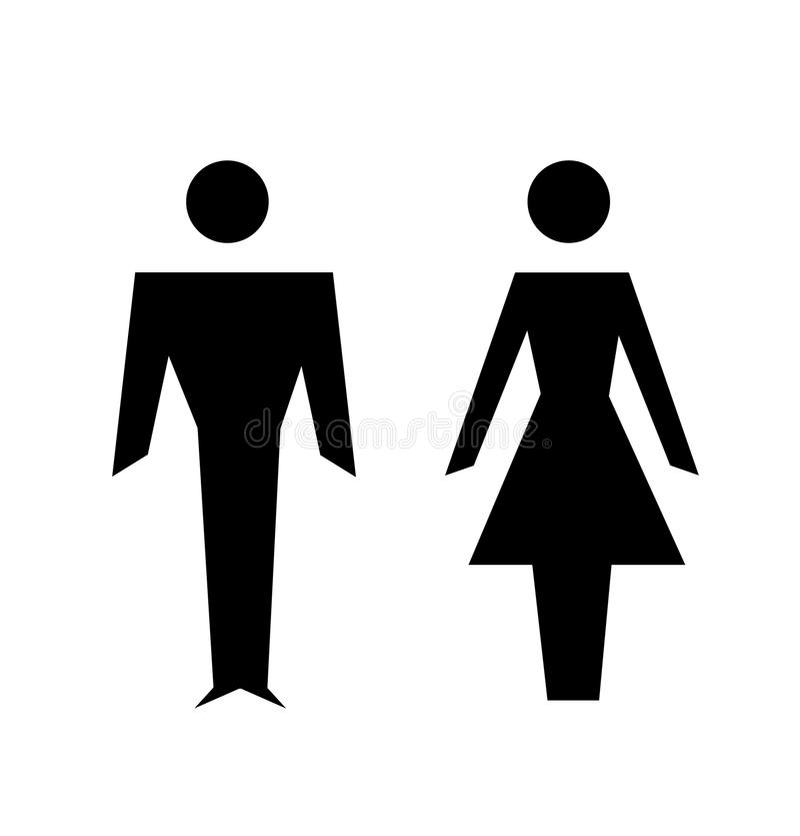 Icônes d'homme et de femme, signe de toilette illustration libre de droits