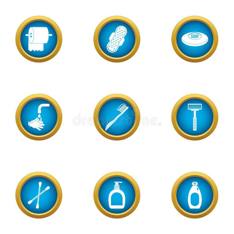 Icônes d'hygiène de toilette réglées, style plat illustration stock