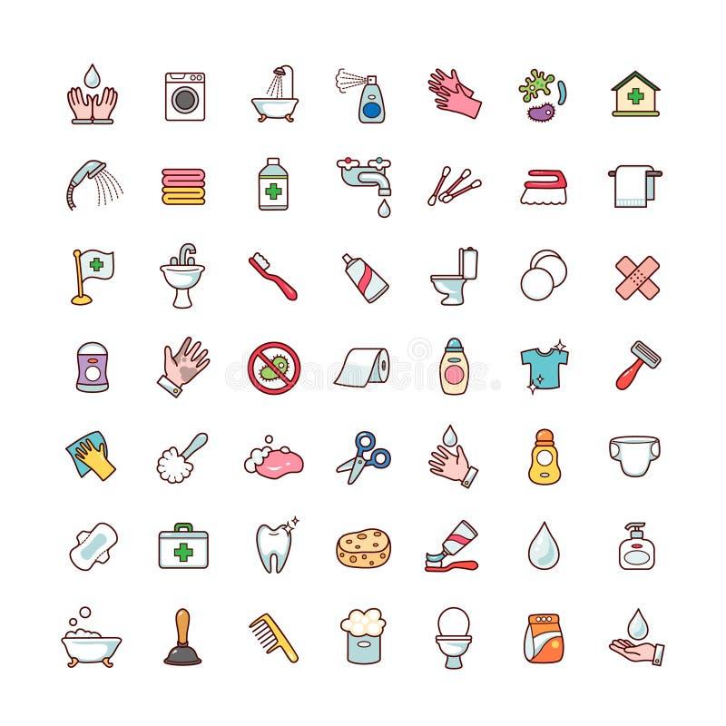 Icônes d'hygiène réglées illustration stock