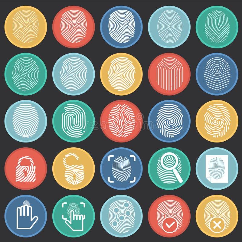 Icônes d'identification de doigt sur le fond noir de cercles de couleur pour le graphique et la conception web, signe simple mode illustration libre de droits
