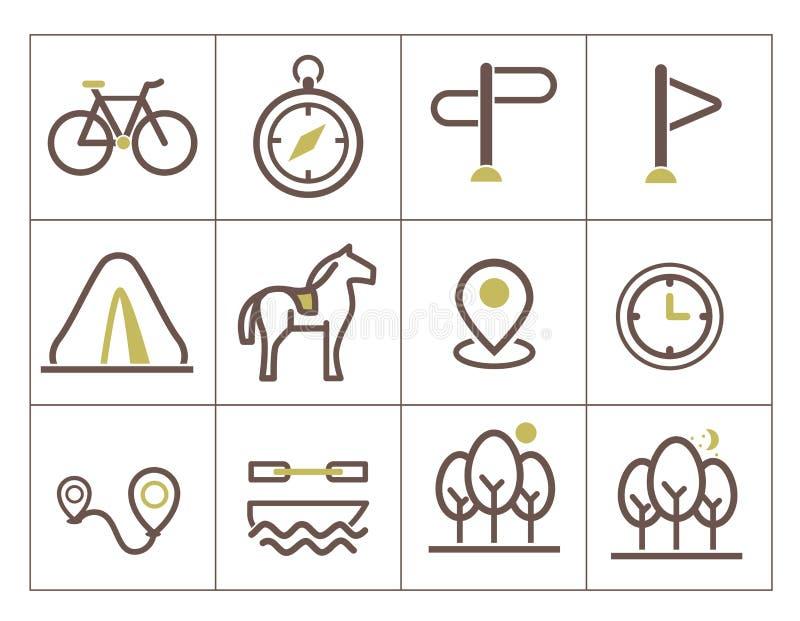 Icônes d'impression pour l'éco-tourisme illustration stock