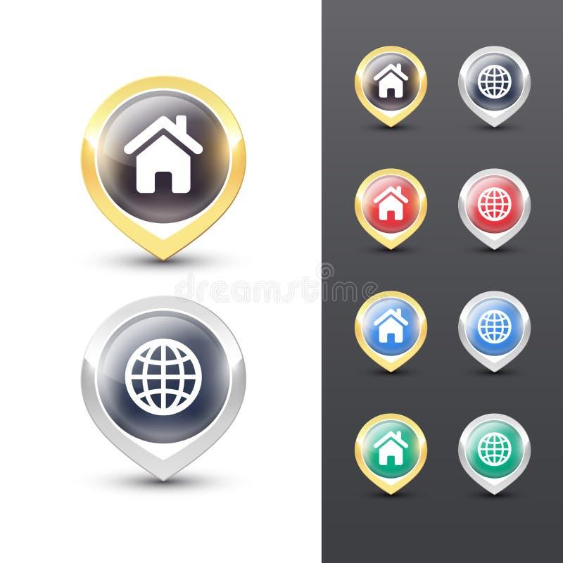 Icônes d'indicateur de carte Marqueurs d'emplacement illustration stock