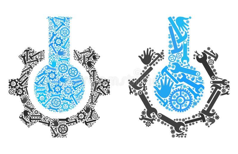 Icônes d'industrie chimique de collage des outils de service illustration de vecteur
