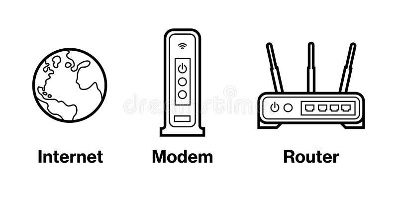Icônes d'Infographic de dispositif : Internet, modem, et routeur photo libre de droits