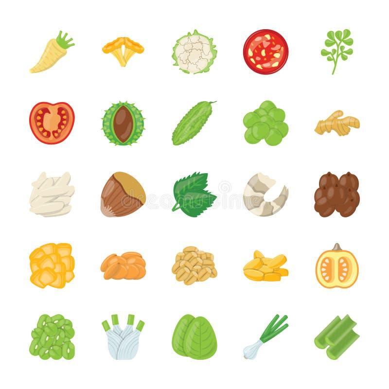 Icônes d'ingrédient de nourriture illustration stock