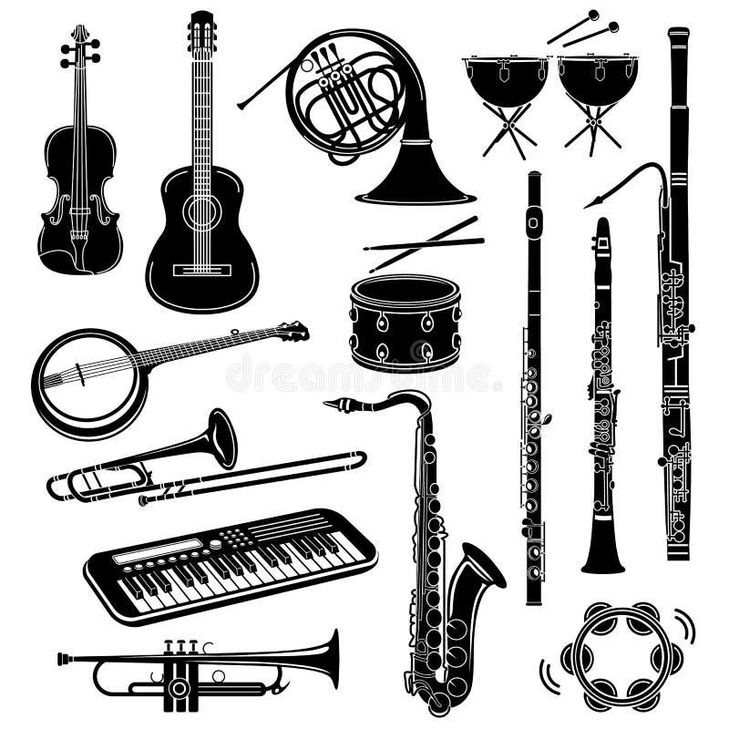 Icônes d'instrument de musique réglées, style simple illustration stock