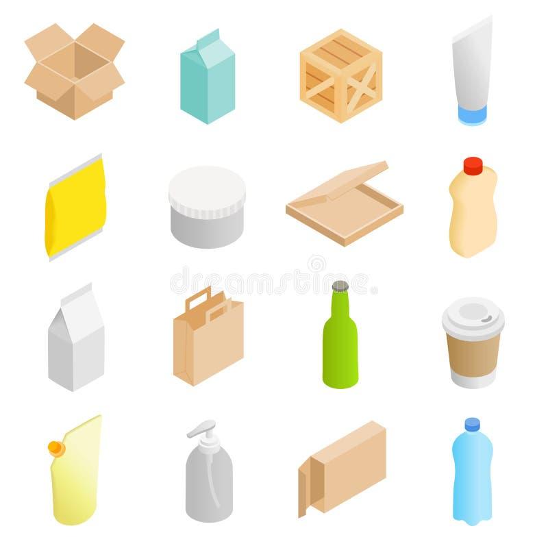 Icônes 3d isométriques de empaquetage réglées illustration libre de droits