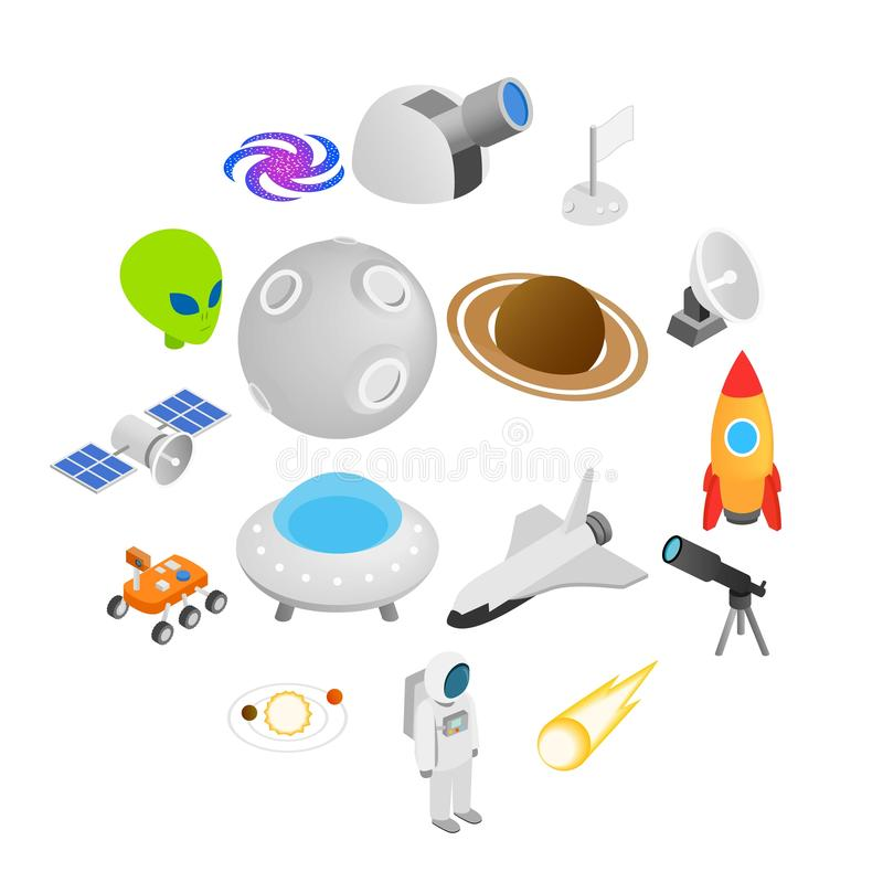 Icônes 3d isométriques de l'espace illustration de vecteur
