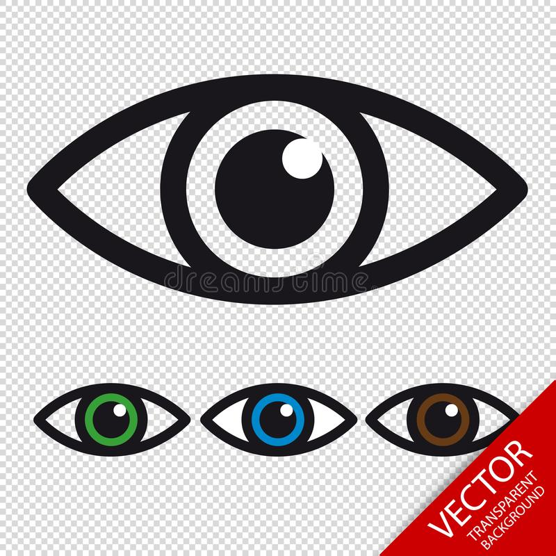 Icônes d'oeil - vecteur coloré réglé - d'isolement sur le fond transparent illustration de vecteur