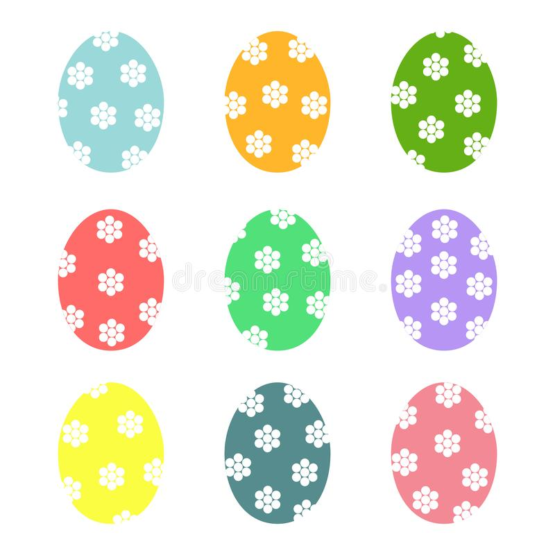 Icônes d'oeufs de pâques Ensemble d'illustration de vecteur d'oeufs illustration de vecteur
