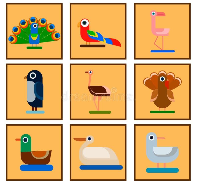 Icônes d'oiseau illustration de vecteur