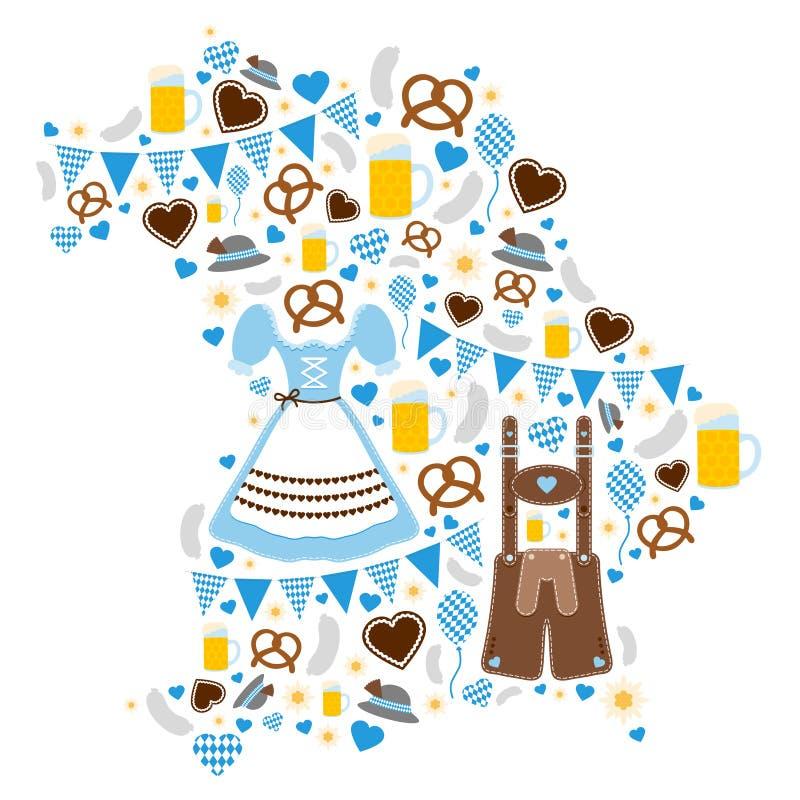 Icônes d'Oktoberfest formant la silhouette du bleu de la Bavière illustration de vecteur