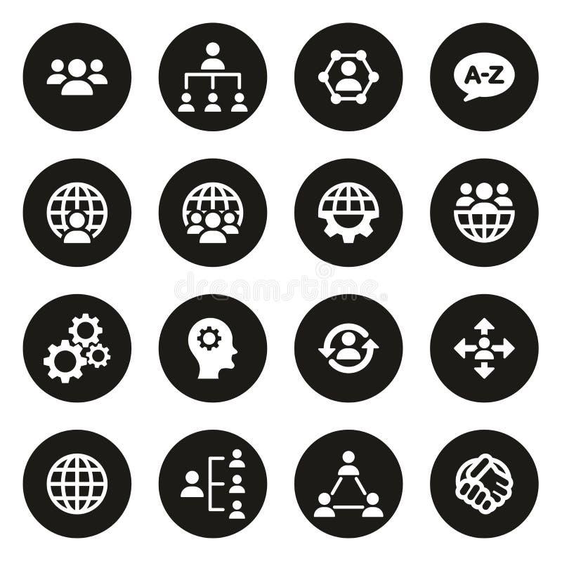 Icônes d'organisation ou de structure blanches sur le cercle noir illustration libre de droits