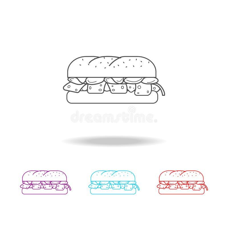 icônes d'un sandwich Éléments des aliments de préparation rapide dans les icônes colorées multi Icône de la meilleure qualité de  illustration libre de droits