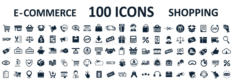 Icônes de achat 100, commerce électronique réglé de signe de magasin pour des applis de développement de Web et sites Web - vecte illustration libre de droits