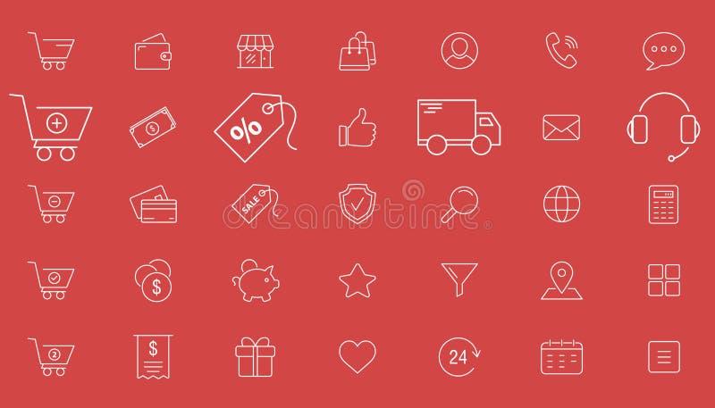 Icônes de achat 01 illustration stock