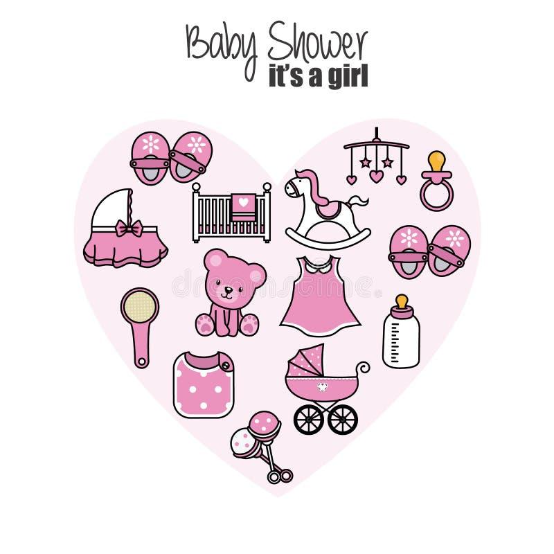 Icônes de bébé Accessoires, vêtements et jouets illustration libre de droits