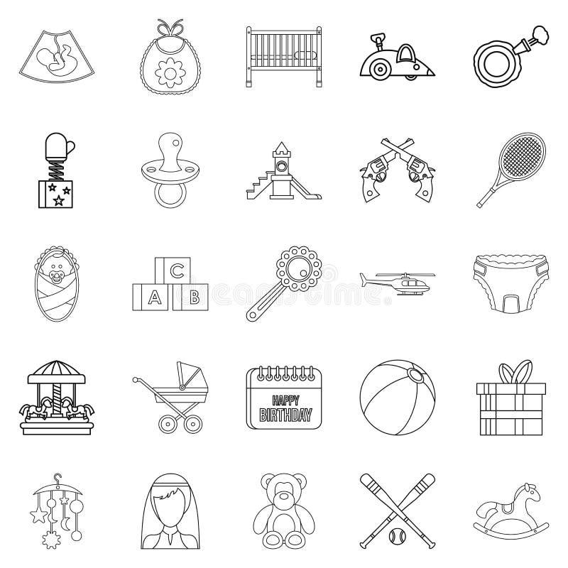 Icônes de bébé réglées, style d'ensemble illustration de vecteur