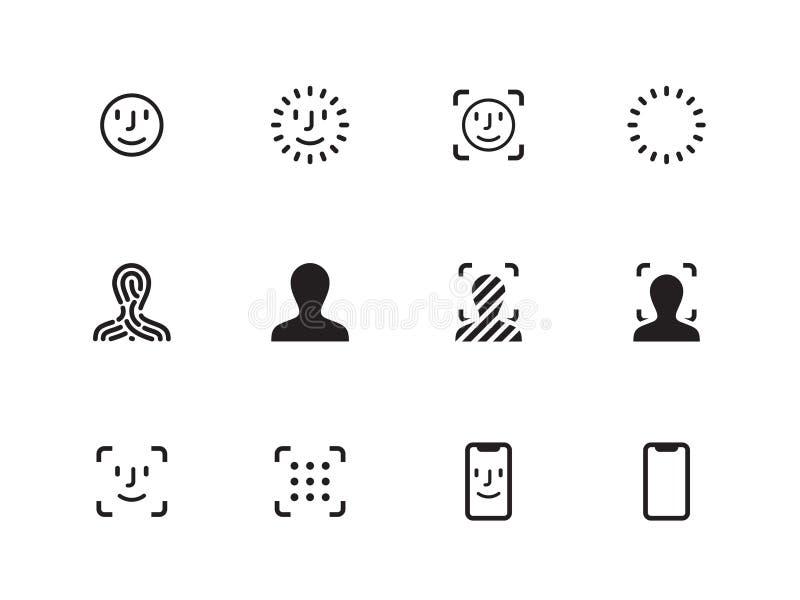Icônes de balayage de visage sur le fond blanc Illustration de vecteur illustration libre de droits