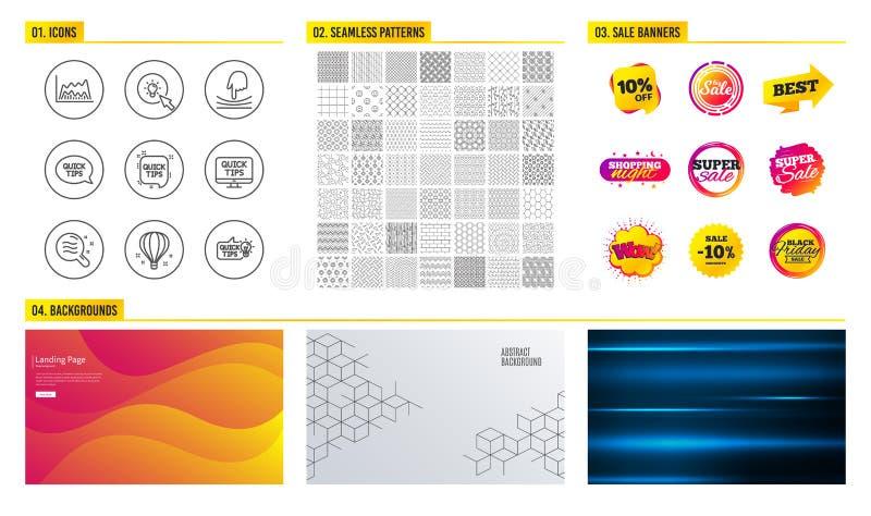 Icônes de ballon à air d'énergie, d'élastique et Teint, diagramme commercial et signes rapides d'astuces Vecteur illustration stock
