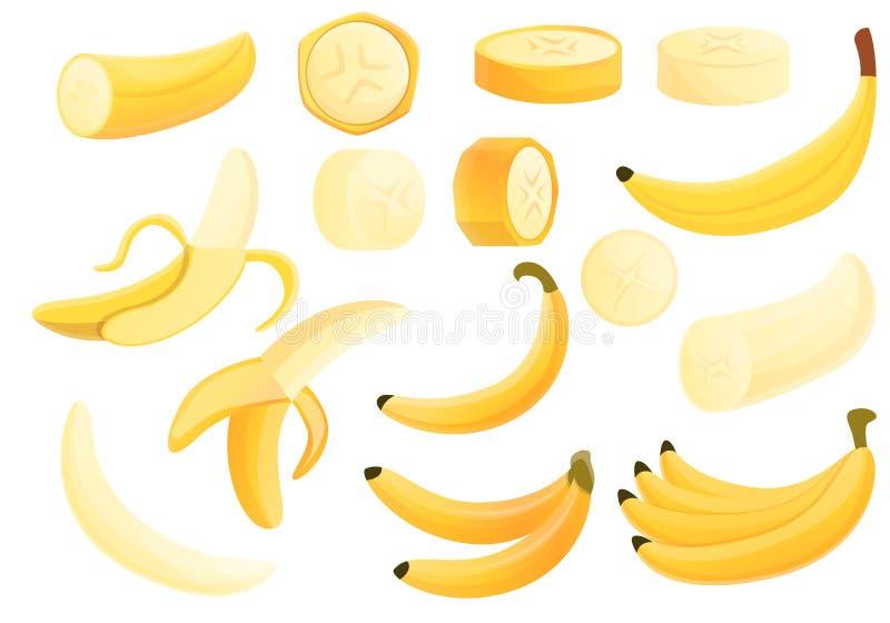 Icônes de banane réglées, style de bande dessinée illustration stock