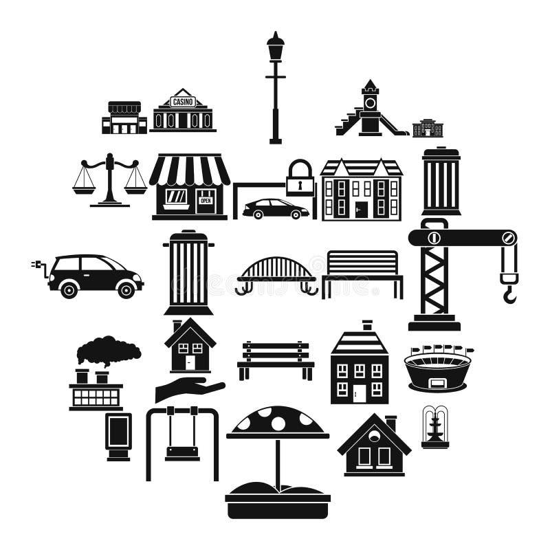 Icônes de bancs réglées, style simple illustration stock