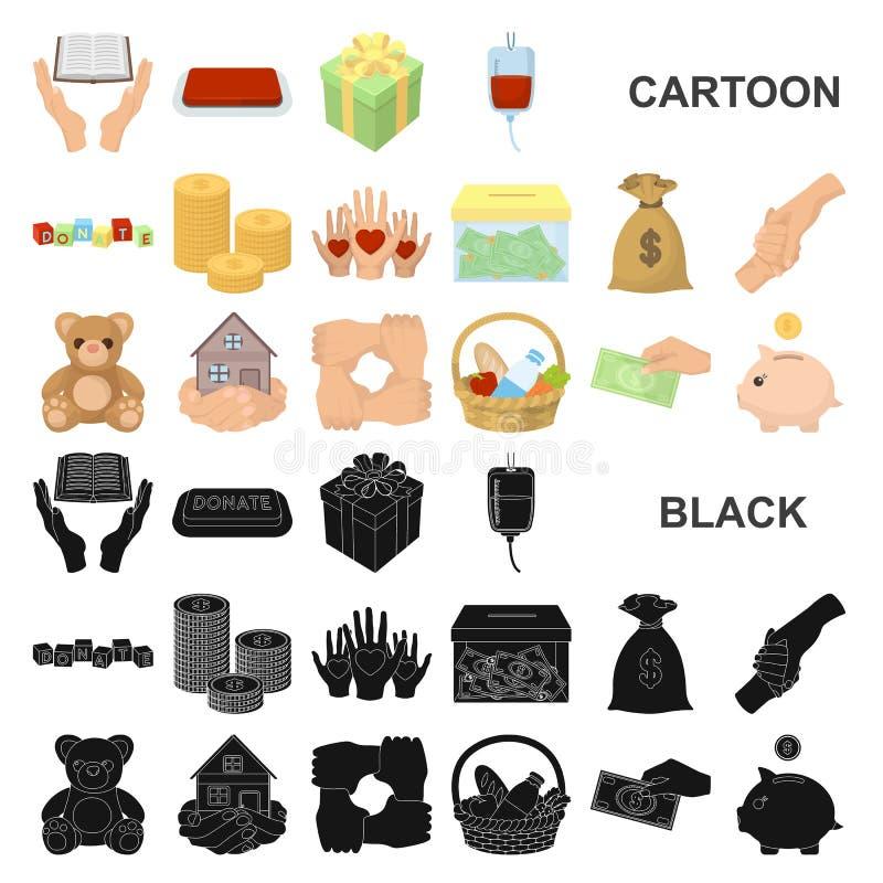 Icônes de bande dessinée de charité et de donation dans la collection d'ensemble pour la conception Illustration de Web d'actions illustration stock