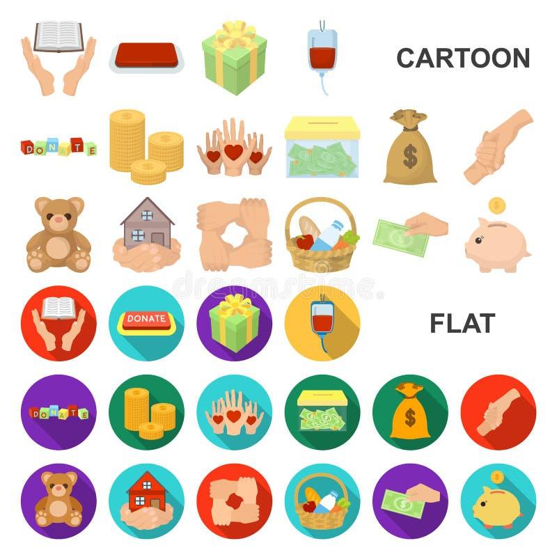 Icônes de bande dessinée de charité et de donation dans la collection d'ensemble pour la conception Illustration de Web d'actions illustration libre de droits
