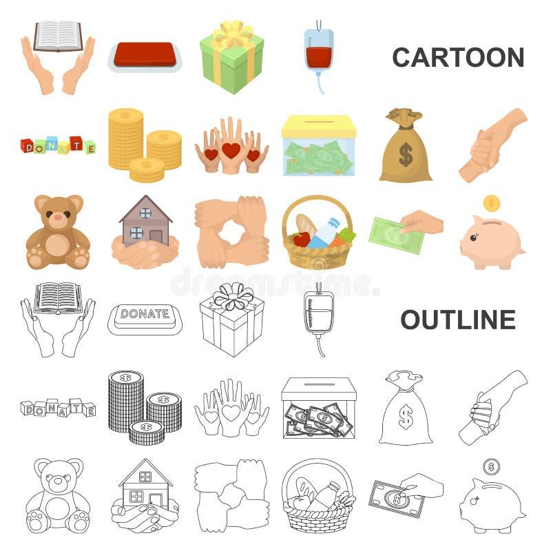 Icônes de bande dessinée de charité et de donation dans la collection d'ensemble pour la conception Illustration de Web d'actions illustration de vecteur