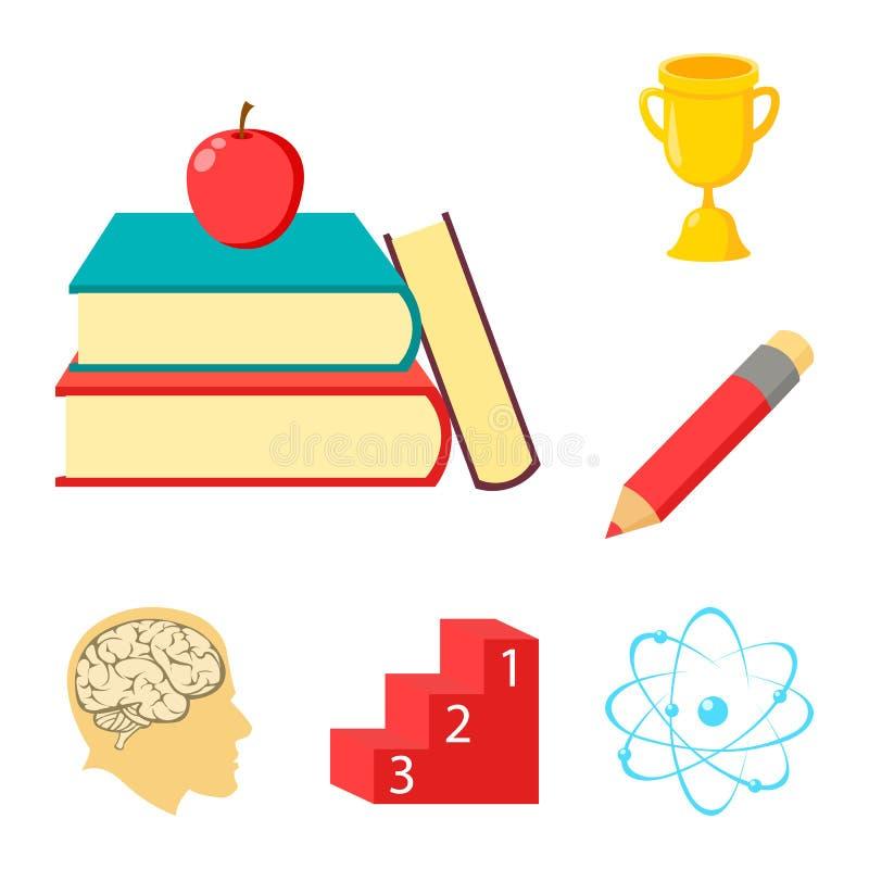 Icônes de bande dessinée d'école et d'éducation dans la collection d'ensemble pour la conception L'université, l'équipement et le illustration stock