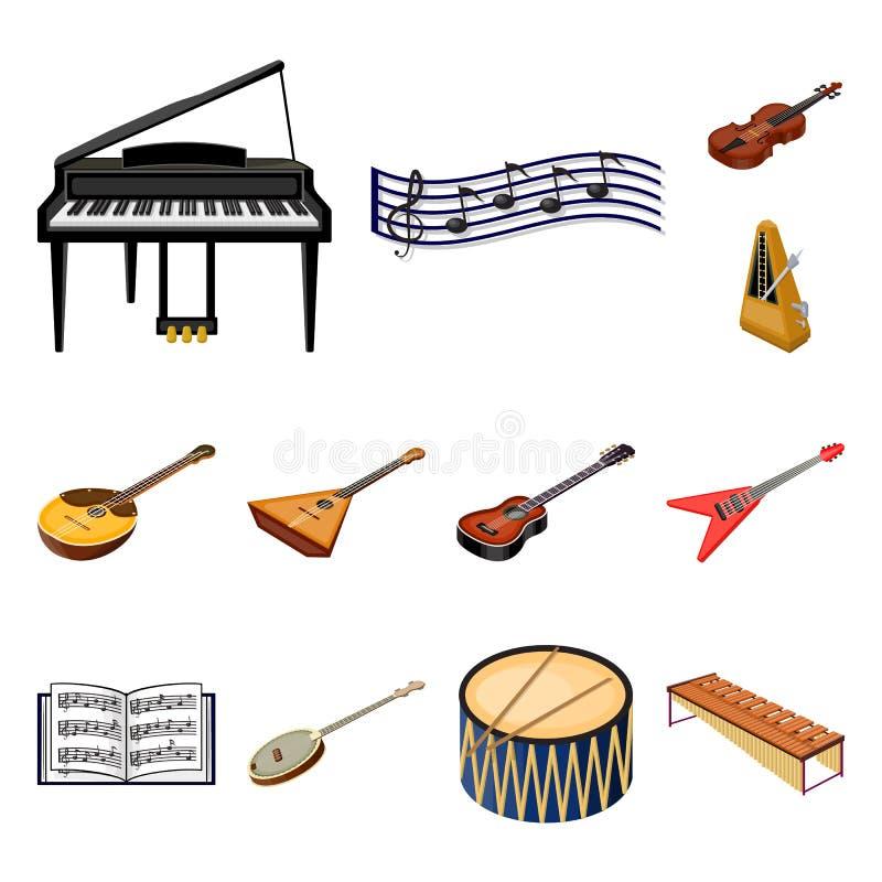 Icônes de bande dessinée d'instrument de musique dans la collection d'ensemble pour la conception Actions isométriques de symbole illustration libre de droits