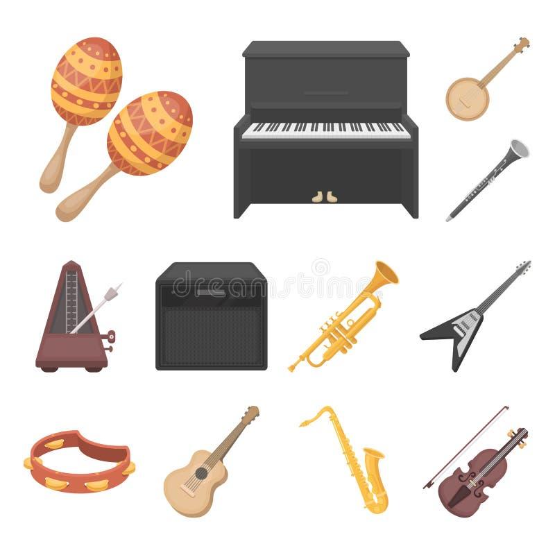 Icônes de bande dessinée d'instrument de musique dans la collection d'ensemble pour la conception L'instrument de ficelle et de v illustration libre de droits