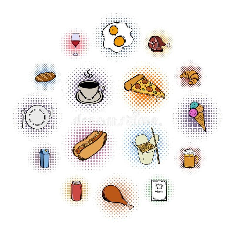 Icônes de bandes dessinées de nourriture réglées illustration stock