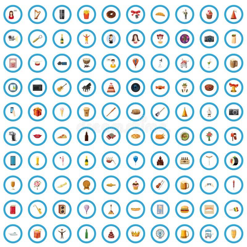 100 icônes de banquet réglées, style de bande dessinée illustration libre de droits