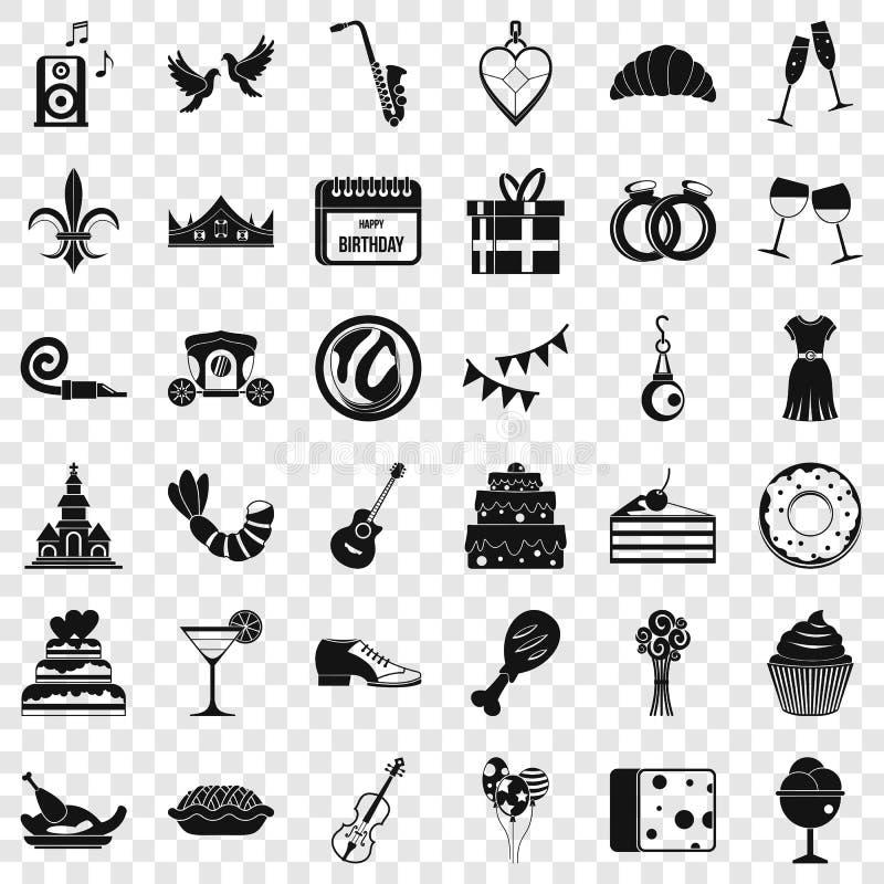 Icônes de banquet réglées, style simple illustration de vecteur