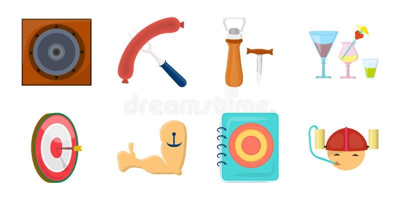 Icônes de bar, d'intérieur et d'équipement dans la collection d'ensemble pour la conception L'alcool et la nourriture dirigent l' illustration stock