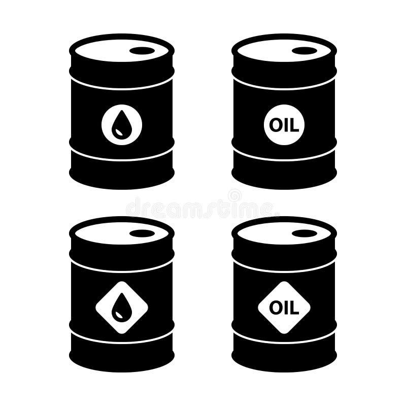 Icônes de baril de pétrole brut réglées illustration stock